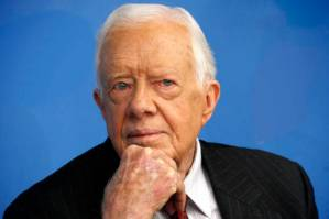 Former U.S. President Jimmy Carter attends a news conference in New York